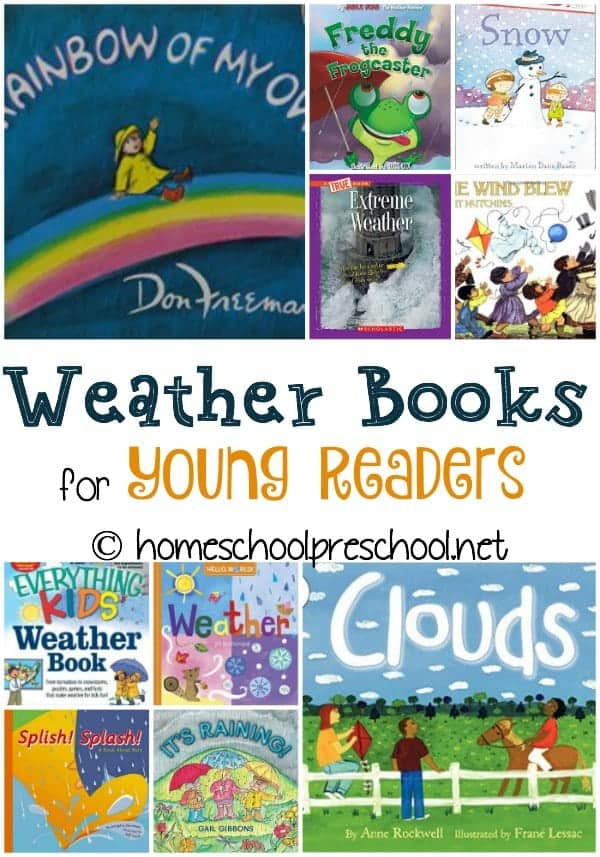 Spring is the perfect time to teach young learners about the weather. Here's a fantastic weather book list to get you started! | homeschoolpreschool.net