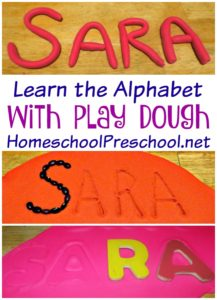 learn the alphabet with play dough