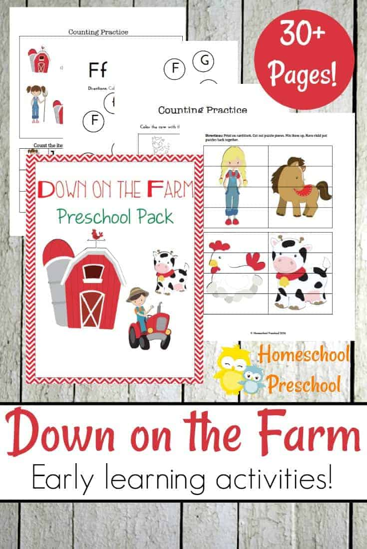 If your little ones are fascinated by farm animals, they'll love these printable preschool farm activities. Focus on numbers and literacy with these pages.