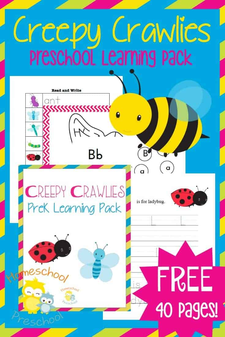 Spring has sprung! Head out into the backyard and explore creepy crawlie creatures with your preschoolers. Grab this free insect-themed printable pack to add to your preschool homeschool lessons. | homeschoolpreschool.net
