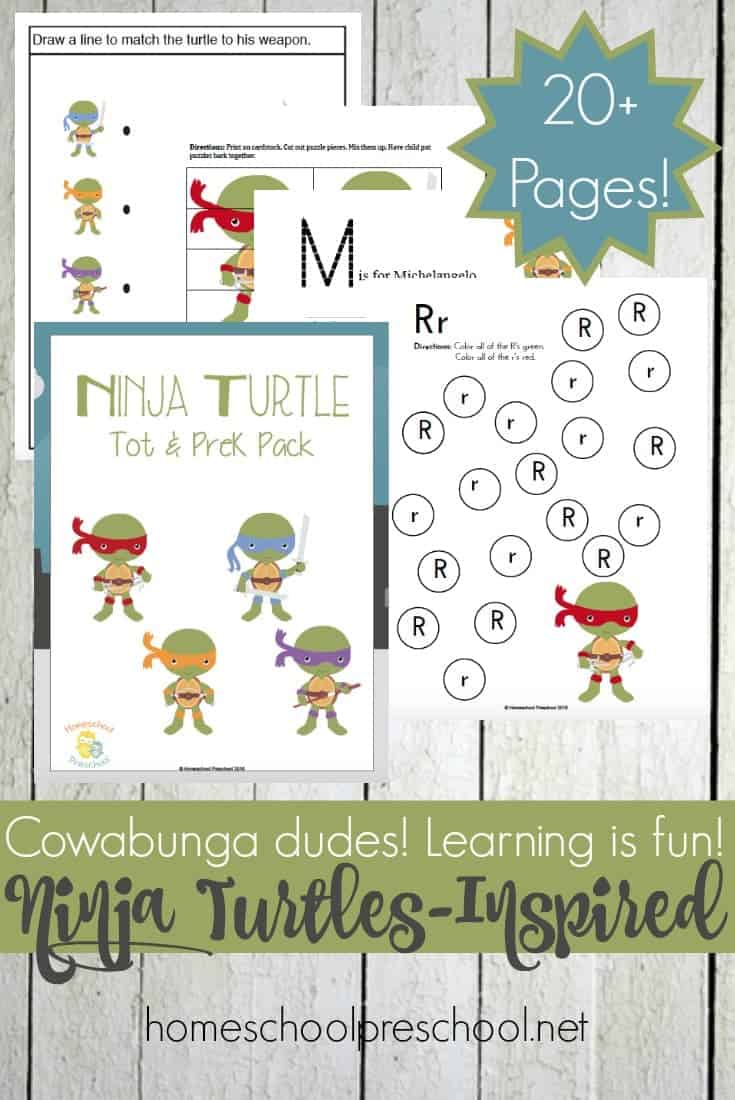 Cowabunga dudes! Learning is fun with this Ninja Turtles printable pack for preschoolers! @homeschlprek