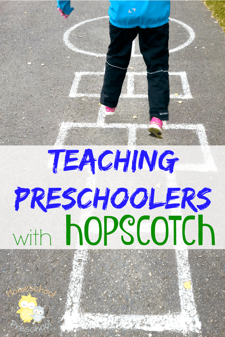 Hopscotch is a fun childhood game. You draw a large hopscotch on the sidewalk, put a number in each square, toss a rock, and jump away. Hopscotch is also a great way to teach preschoolers.