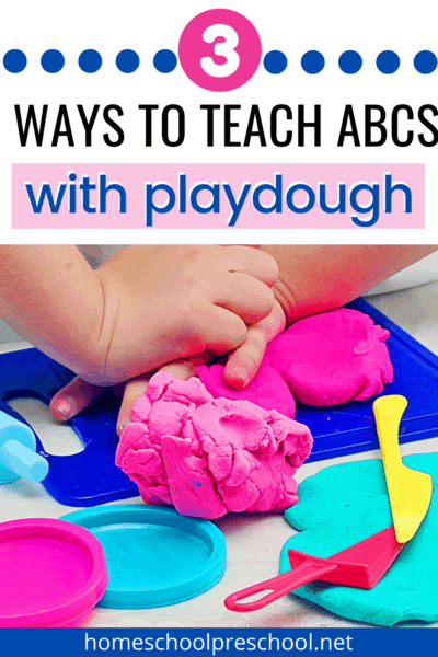 Preschoolers love to play with play dough. It's fun, it's squishy, and it's an excellent manipulative to have on hand when teaching the alphabet.