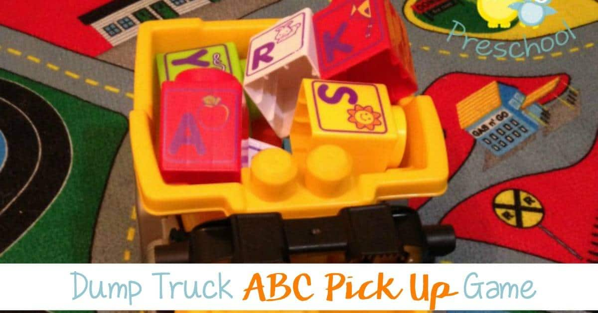 Do you have a preschooler that loves anything they can drive and put stuff in? With any variety of truck or ABC block this game is sure to be a big hit!