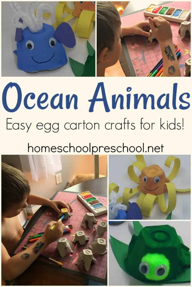 These egg carton ocean animals are perfect for summertime crafts! Kids will love decorating recycled egg cartons and turning them into their favorite sea creatures.