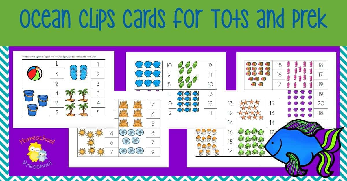 Ocean Count and Clip Cards Tot and PreK Printable
