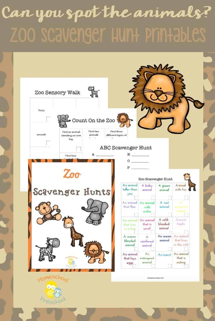 Summer's a great time to visit the zoo. Keep your kids on the lookout for animals and their features as they use these printables to go on a scavenger hunt! | homeschoolpreschool.net