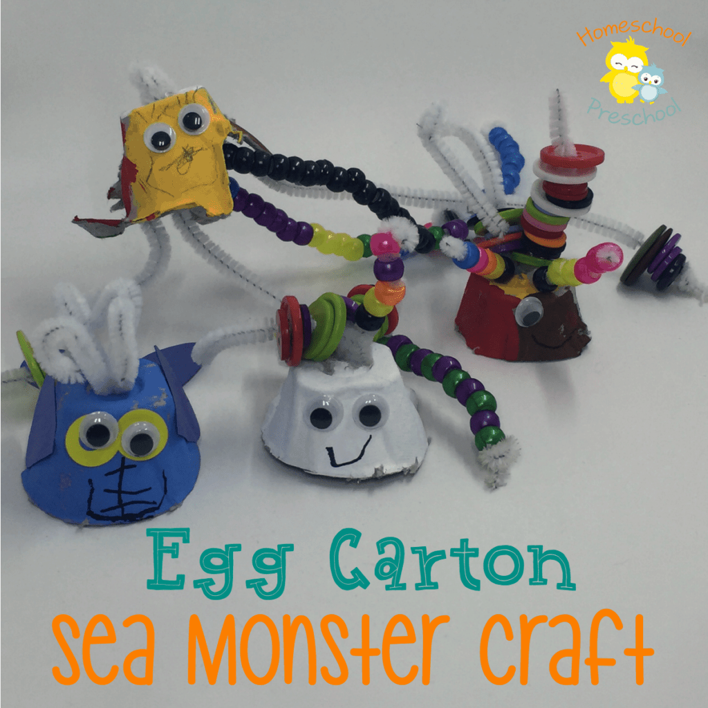 These egg carton ocean animals are the perfect summer preschool craft! They can be made with household items, and your little ones will love getting creative! | homeschoolpreschool.net