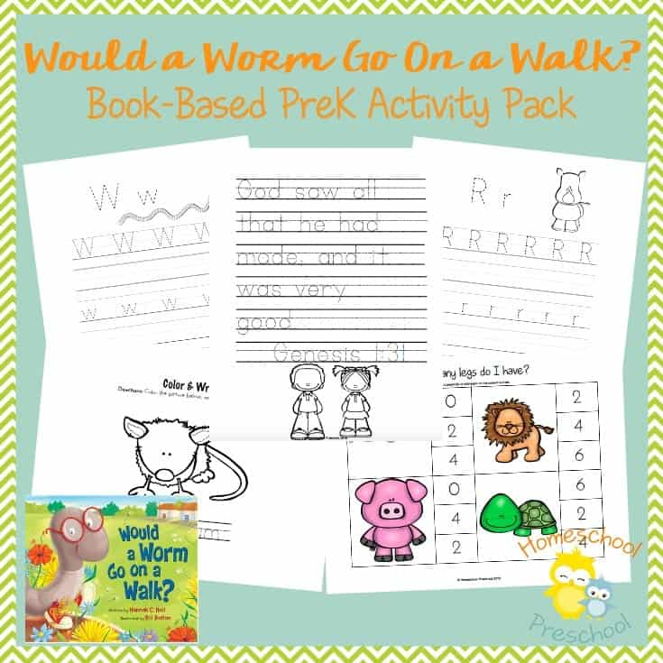 Would a Worm Go On a Walk? is a sweet book that will remind kids that God's design is intentional. Preschoolers will love this fun printable based on the book, as well. | homeschoolpreschool.net