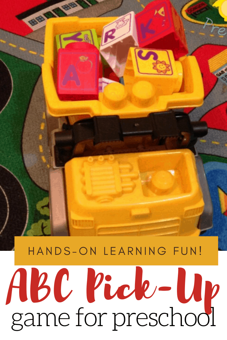 Sneak in some learning with this fun Pick Up the Alphabet dump truck game which involves trucks, movement, and letter recognition.