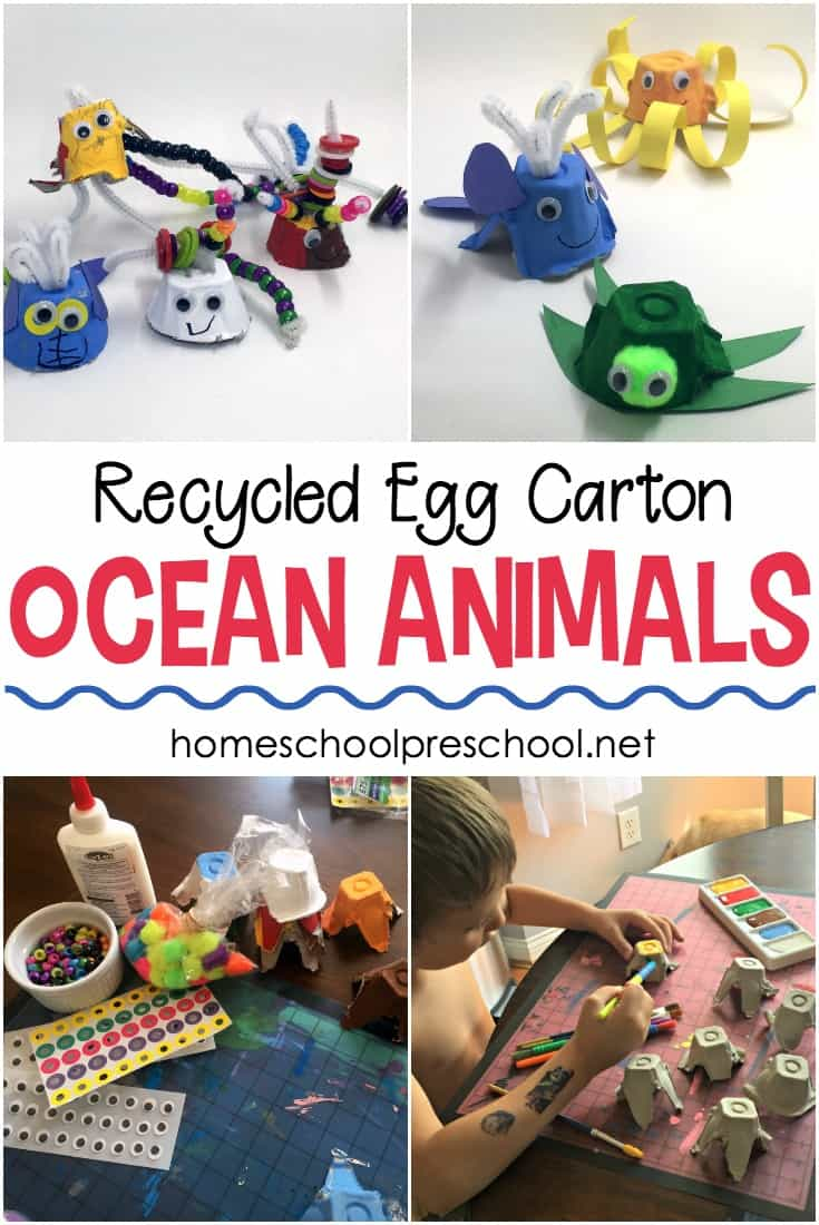 These egg carton ocean animal crafts are perfect for summertime! Decorate recycled egg cartons and turn them into cute sea creatures.