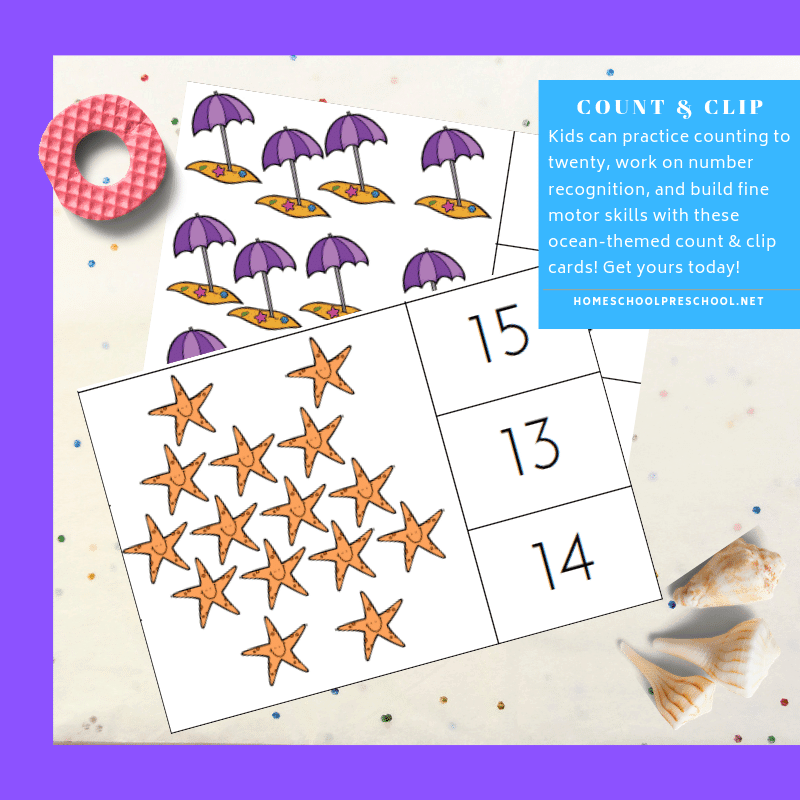 Practice counting from 1 to 20 with these ocean count and clip cards. They're perfect for counting, number recognition, and fine motor skills!