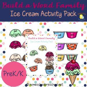 Build a Word Family Ice Cream Printable