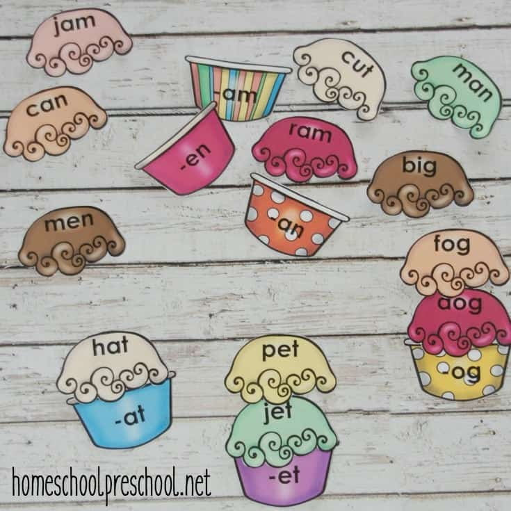 Printable Ice Cream Build a Word Family Game