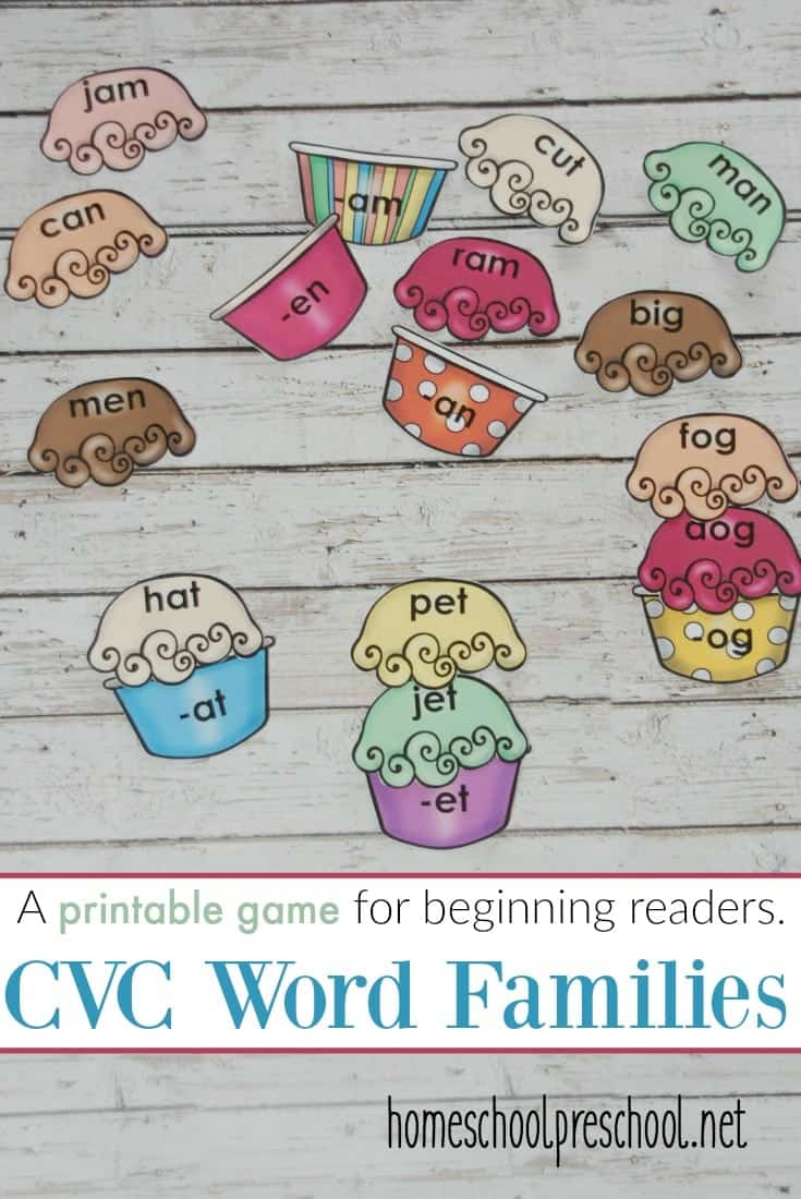 Make learning to read more fun by building ice cream word families with a focus on CVC words. This is a great printable game for early readers.