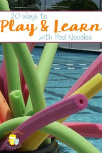 Pool noodles aren't just for swimming. Here are 20 ways your kids can play and learn with pool noodles! Which one will be your kid's favorite? | homeschoolpreschool.net