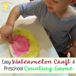 Easy Watermelon Craft and Preschool Counting Game