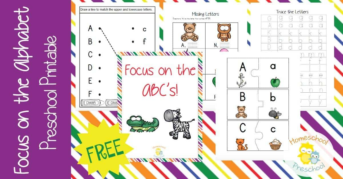 Preschoolers will love focusing on the alphabet with this fun printable pack! With hands-on activities and skill builders, your little ones will learn to identify their letters, match uppercase and lowercase letters, and more! | homeschoolpreschool.net