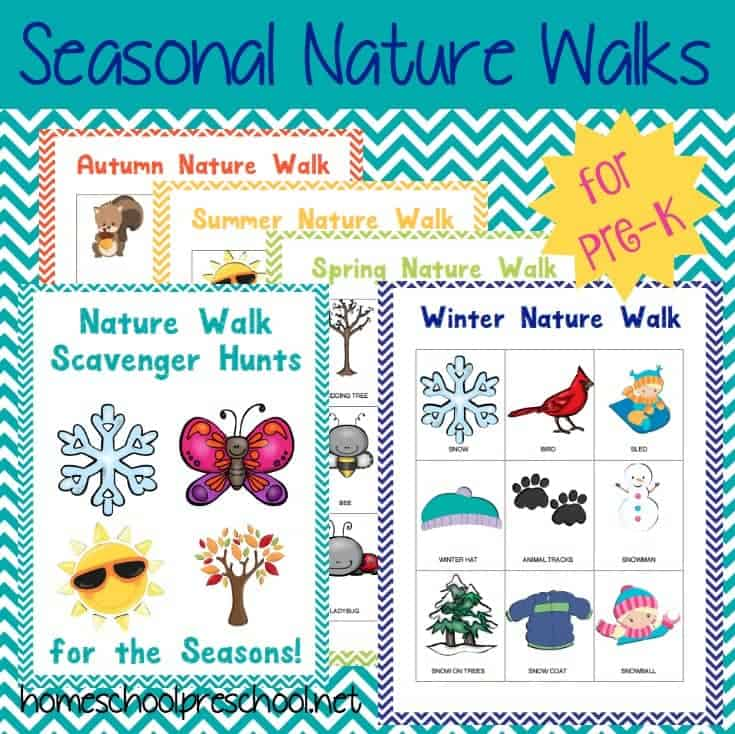 Before you take your kids for a walk, be sure to check out these tips and scavenger hunt printables. Your preschoolers {and your sanity} will thank you! | homeschoolpreschool.net