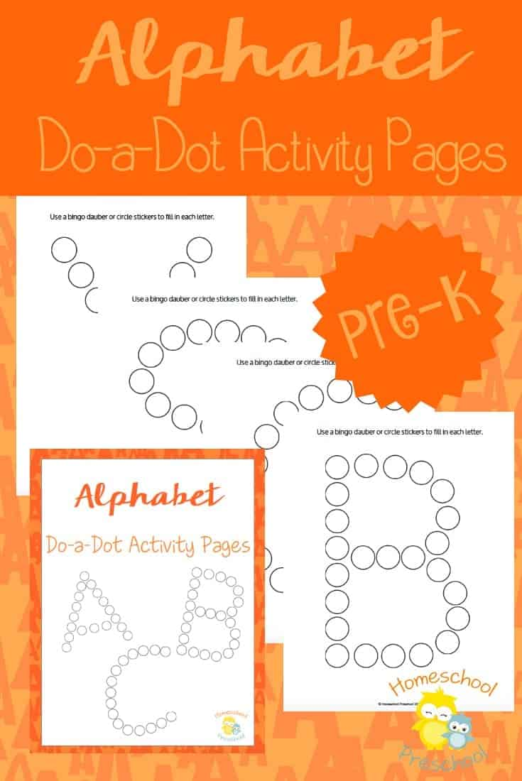 These alphabet pages are perfect for preschoolers and kindergarteners who are learning to recognize their letters. These dot pages are the perfect addition to your ABC activities! | homeschoolpreschool.net