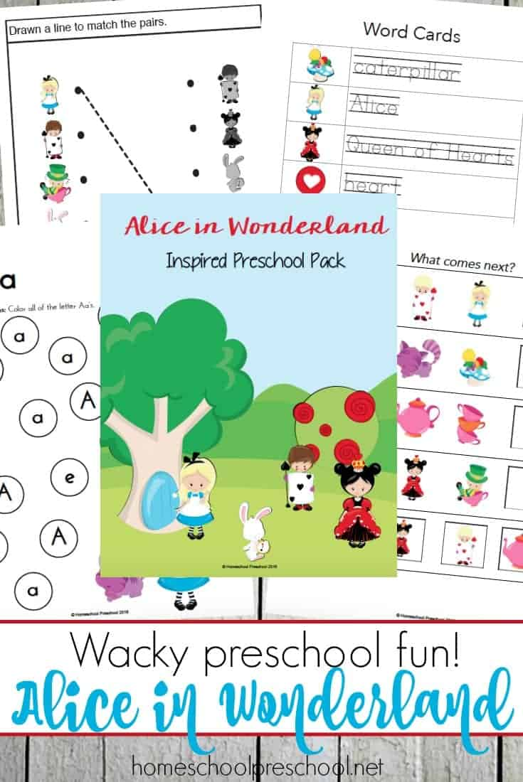 These Alice in Wonderland printables are perfect for adding a little fun to your homeschool preschool lessons!