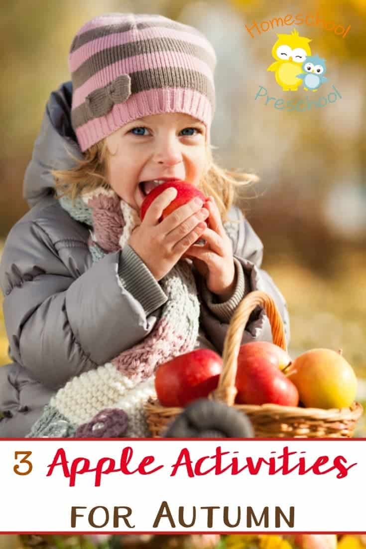 Apples are everywhere in autumn. They are falling off the trees and showing up at stands along the road. Come discover 3 awesome apple activities to do with your preschooler. | homeschoolpreschool.net