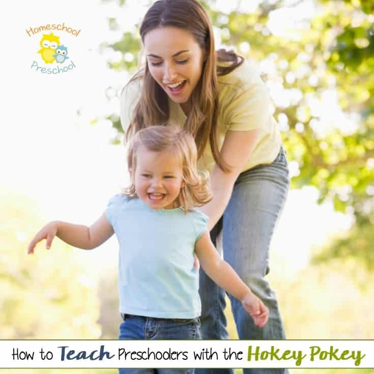 Have you ever danced the Hokey Pokey with your kids? Preschoolers love it! Homeschool moms can use this fun game to teach basic preschool skills! | homeschoolpreschool.net