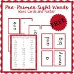 Pre-Primer Sight Words Poster and Flash Cards