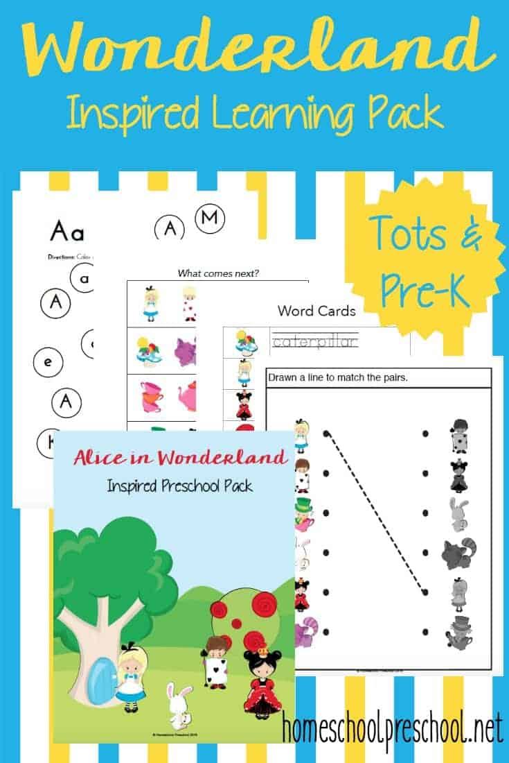Your tots and preschoolers will love this fun Alice in Wonderland-themed printable pack! | homeschoolpreschool.net