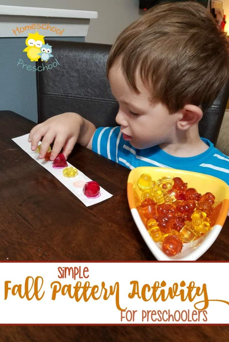 Learning patterns at an early age builds predicting, observation and analyzing skills. Simple patterns are fun for kids to complete and build a strong foundation for more advanced mathematical thinking. Try this simple fall pattern activity with your preschoolers! | homeschoolpreschool.net