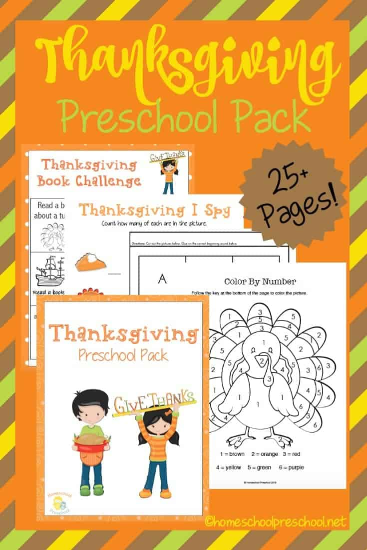 Get your kids in the holiday spirit with this fun Thanksgiving preschool pack. These pages will help your little ones practice counting, ABCs, handwriting and more. | homeschoolpreschool.net