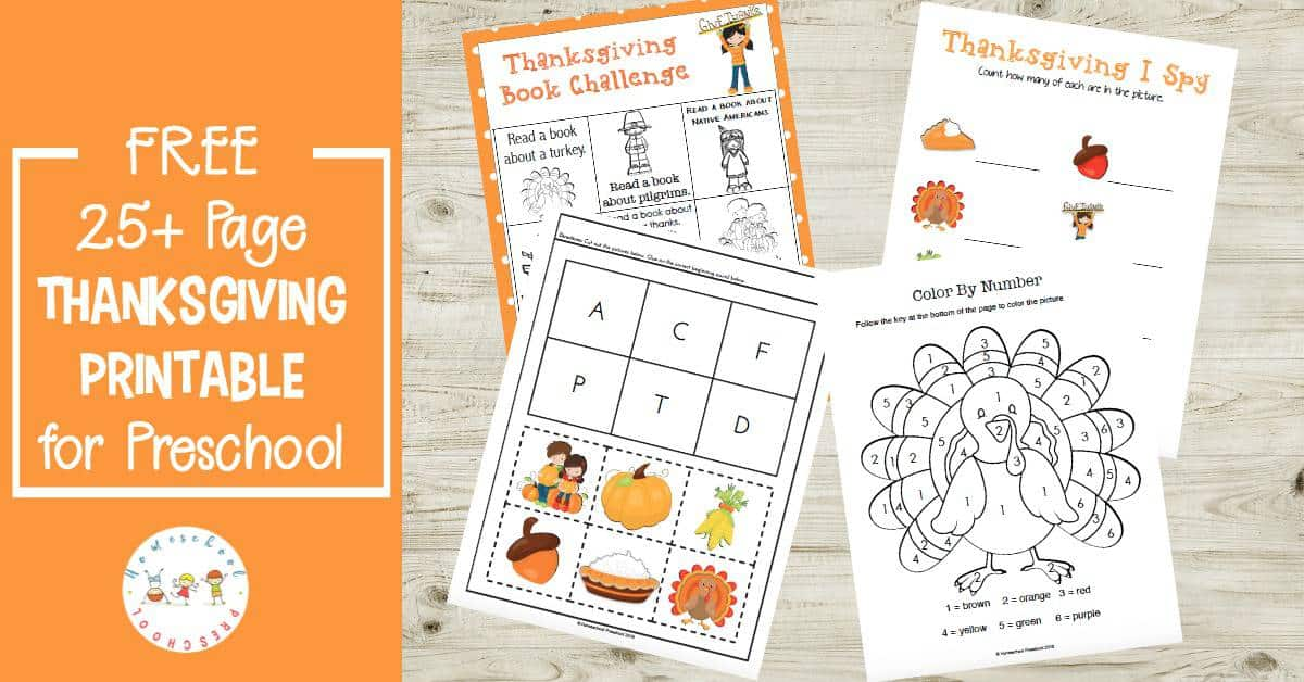 Get your kids in the holiday spirit with this fun Thanksgiving preschool pack. These pages will help your little ones practice counting, ABCs, handwriting and more.
