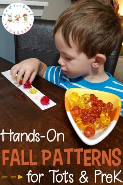 With items you can find around the house or at your local dollar store, set your kids up with this simple hands-on fall patterns preschool activity.