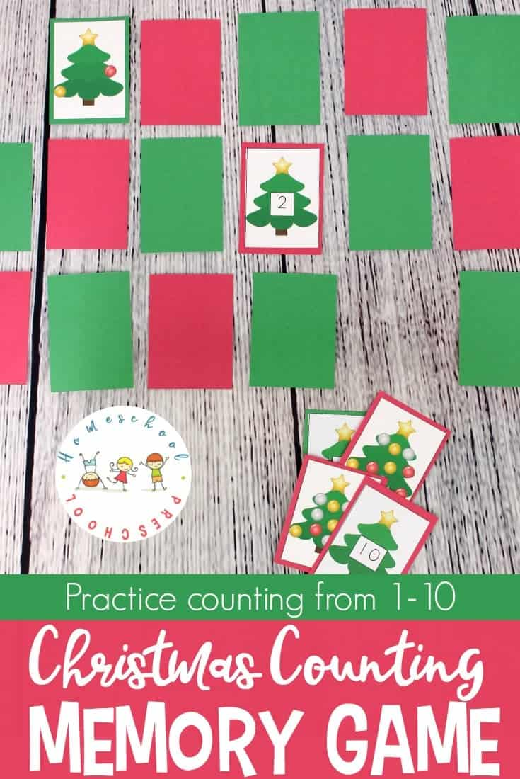 Help preschoolers practice counting from 1-10 with this fun Christmas Memory Game. They will work on number recognition and counting with this printable game.