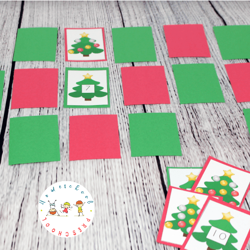 Printable Christmas Memory Game: Counting 1-10