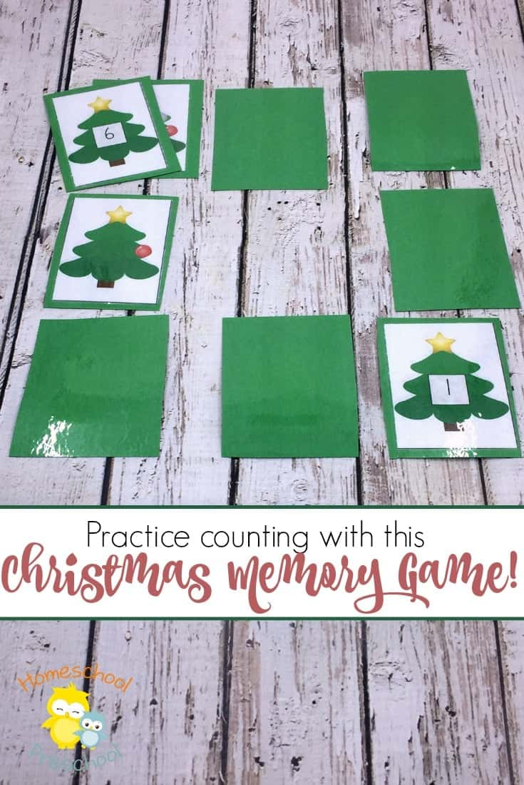 Preschoolers will love counting with this fun Christmas Memory Game! Reinforce counting from one to ten with a fun Christmas twist. | homeschoolpreschool.net