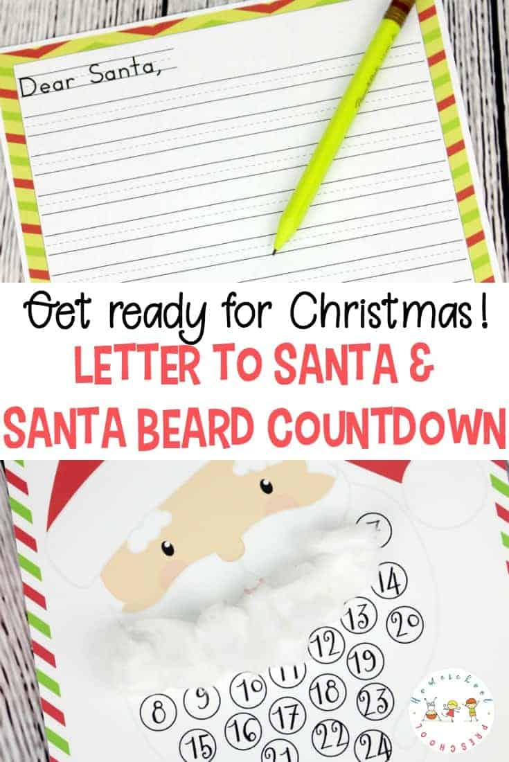Printable Christmas Countdown and Letter to Santa