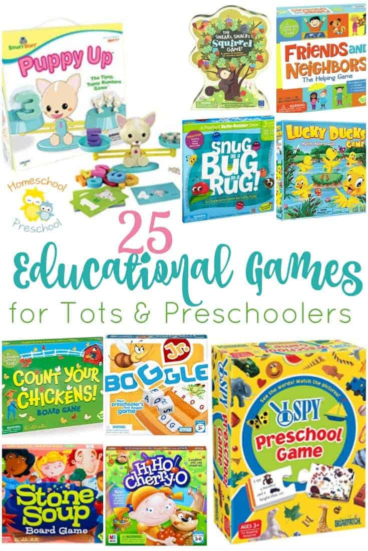 Whether you're gearing up for Christmas or an upcoming birthday or you're just looking for something new to add to the game closet, this list of educational board games for preschoolers is the perfect place to start! | homeschoolpreschool.net