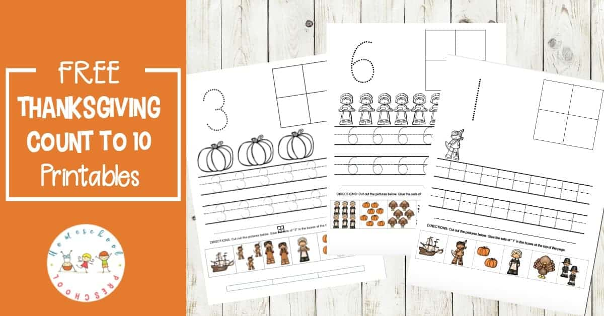 Your preschoolers will love practicing counting to ten with these printable Thanksgiving preschool number activities. Add these to your holiday math centers!