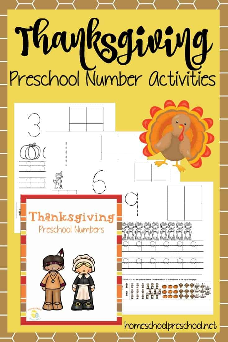 Your preschoolers will love practicing counting with these Thanksgiving number activity pages. | homeschoolpreschool.net