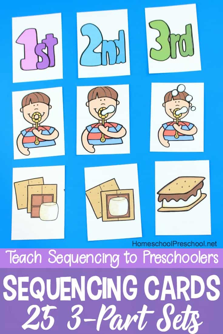 Kids will begin to make sense of the order in which events happen when you introduce them to sequencing with these free printable sequencing cards for kids.