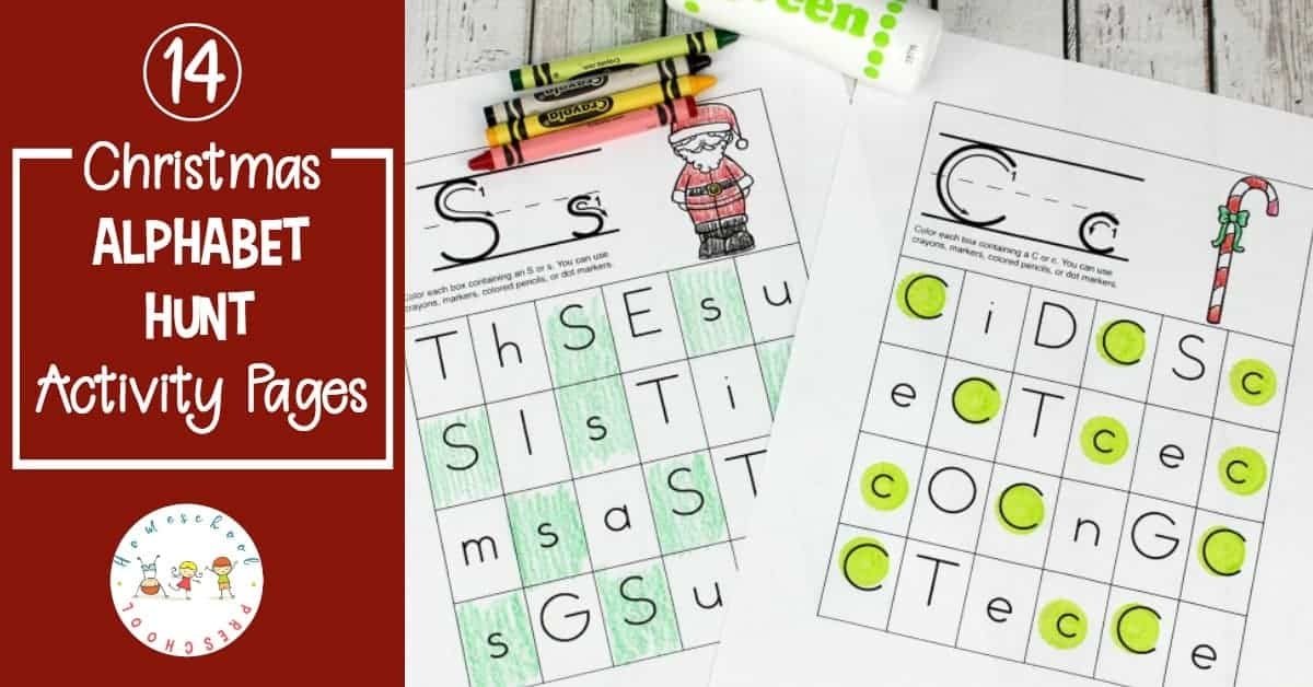 Are your kids having a hard time focusing on their homeschool preschool lessons? Add these Christmas Alphabet Hunt pages to your homeschool lessons!