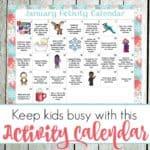 January Preschool Activity Calendar