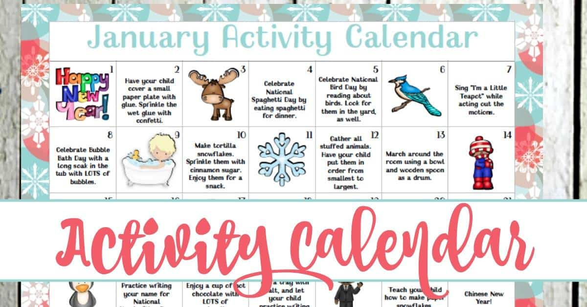 January Preschool Activity Calendar
