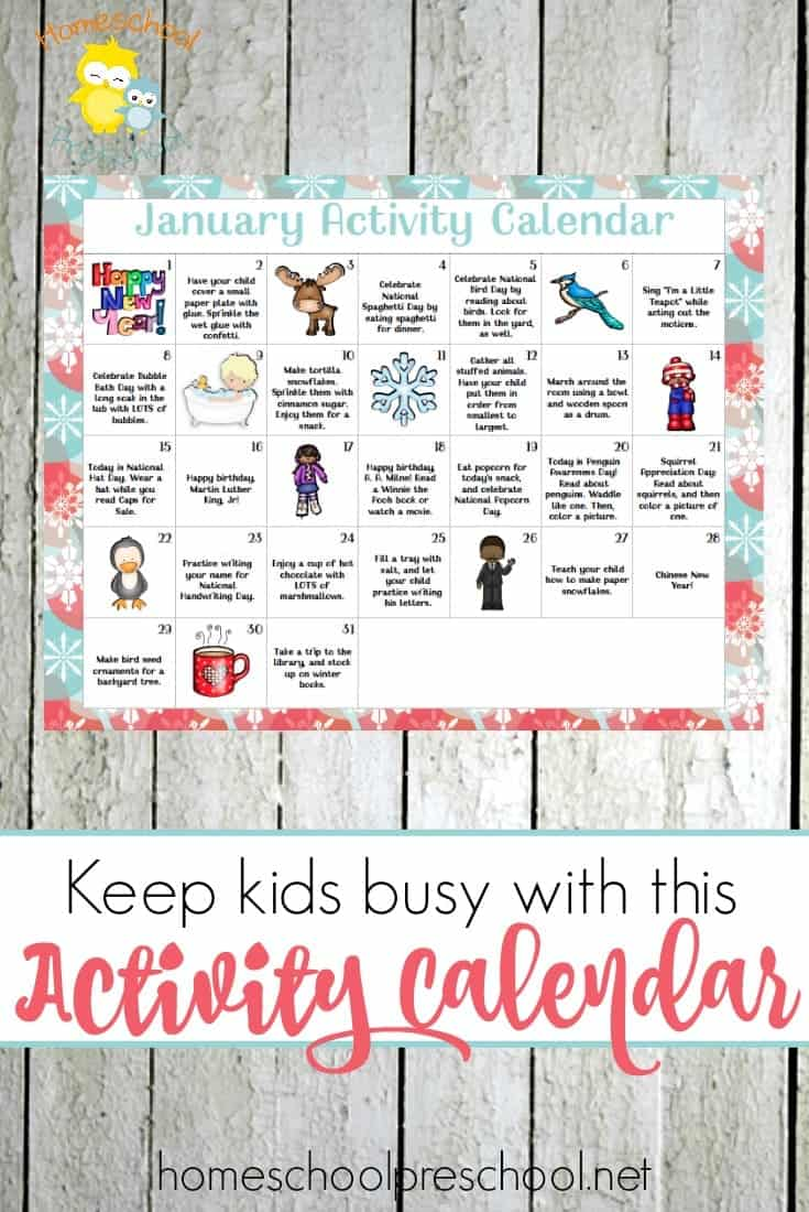 Keep tots and preschoolers entertained all January long with this free Activity Calendar for little ones! | homeschoolpreschool.net