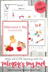 Capitalize on your preschooler's excitement for the upcoming Valentine's holiday by incorporating this fun learning pack into your holiday lesson plans. | homeschoolpreschool.net