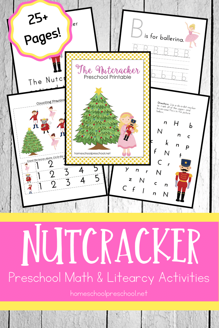 Focus on early math and literacy skills when you add these printable nutcracker activities to your holiday preschool lessons.