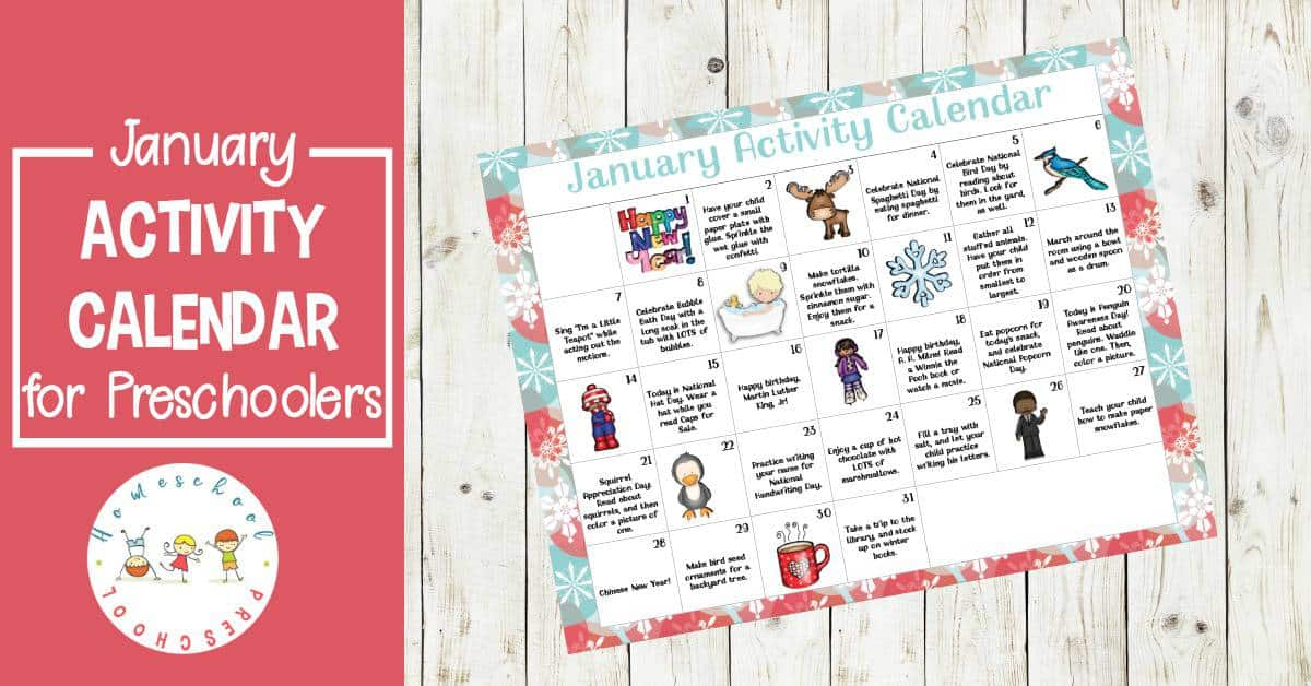 A free preschool activity calendar for January! Celebrate holidays and special days with books, printables, and hands-on activities for little ones.