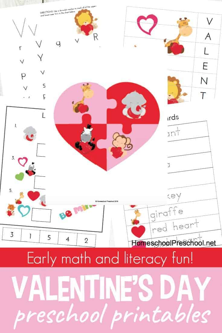 picture relating to Valentine Printable identify Printable Preschool Valentines Working day Finding out Pack