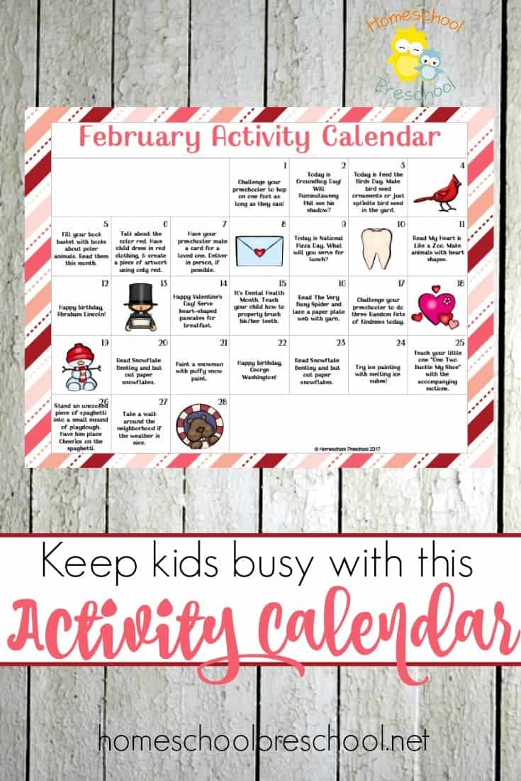 Keep tots and preschoolers entertained all February long with this free Activity Calendar for little ones! | homeschoolpreschool.net